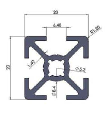 نقشه پروفیل آلومینیوم شیاردار مهندسی 20x20