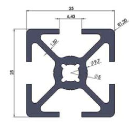نقشه پروفیل آلومینیوم شیاردار مهندسی 25x25