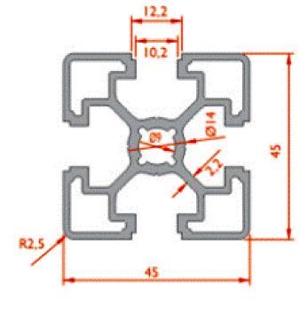 نقشه پروفیل آلومینیوم شیاردار مهندسی سبک 45x45